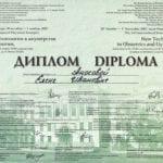 Диплом участника конгресса Аносова Елена Ивановна