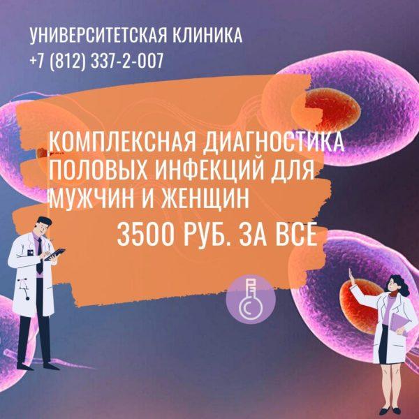 Комплексная диагностика ПОЛОВЫХ ИНФЕКЦИЙ Полная стоимость комплексного обследования 3500 руб.